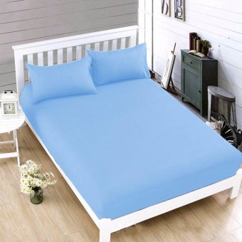MODERN SPACE High Quality Bedsheet Queen Size Size With FREE TwoPillow Cases (Light Blue) Price Philippines