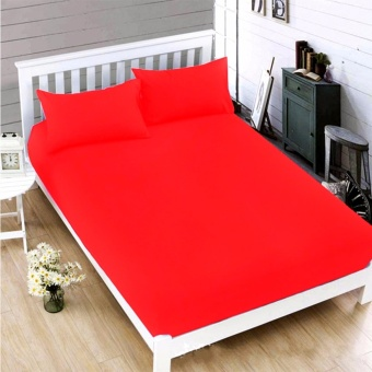MODERN SPACE High Quality Bedsheet Queen Size With FREE Two Pillow Cases (Dark Red)