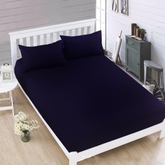 MODERN SPACE High Quality Bedsheet Queen Size With FREE Two PillowCases (Navy Blue) Price Philippines
