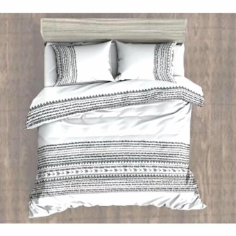 MODERN SPACE High Quality Fitted Bedsheet Double Size With FREE Two Pillow Cases Aztec Black/ White Printed Design