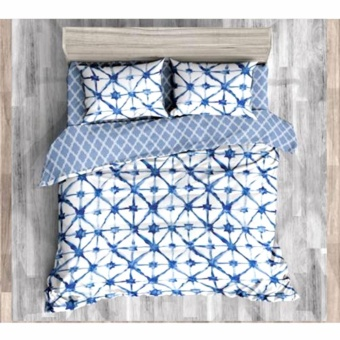 MODERN SPACE High Quality Fitted Bedsheet Double Size With FREE Two Pillow Cases Connecting Stars Printed Design