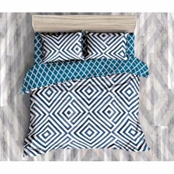 MODERN SPACE High Quality Fitted Bedsheet Double Size With FREE Two Pillow Cases Illusion Blue/White Printed Design