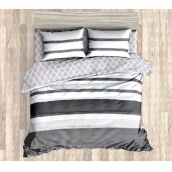 MODERN SPACE High Quality Fitted Bedsheet Double Size With FREE Two Pillow Cases Parallel Printed Design Price Philippines