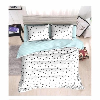MODERN SPACE High Quality Fitted Bedsheet Double Size With FREE Two Pillow Cases Triangle Confetti White Printed Design