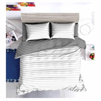 MODERN SPACE High Quality Fitted Bedsheet Double Size With FREE Two Pillow Cases White Stripes Printed Design