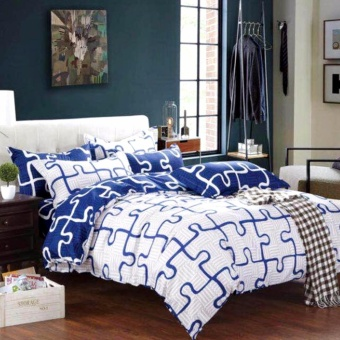 MODERN SPACE High Quality Fitted Bedsheet Double Size With FREE TwoPillow Cases Blue Puzzle Printed Design Price Philippines