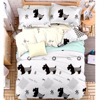 MODERN SPACE High Quality Fitted Bedsheet Double Size With FREE TwoPillow Cases Dog Printed Design Price Philippines