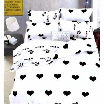 MODERN SPACE High Quality Fitted Bedsheet Double Size With FREE TwoPillow Cases Hearts Printed Design Price Philippines