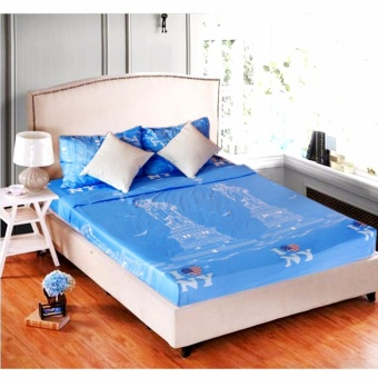 MODERN SPACE High Quality Fitted Bedsheet Double Size With FREE TwoPillow Cases I Love New York Printed Design Price Philippines