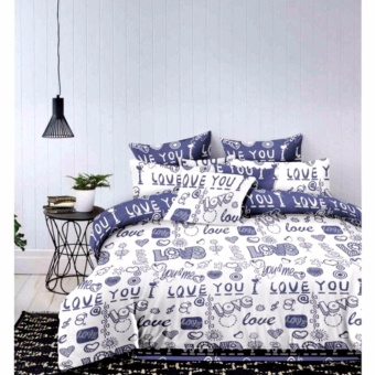 MODERN SPACE High Quality Fitted Bedsheet Queen Size With FREE Two Pillow Cases I Love You Printed Design(Blue/White) Price Philippines