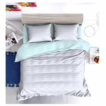 MODERN SPACE High Quality Fitted Bedsheet Queen Size With FREE Two Pillow Cases Light Grey Stripes Printed Design