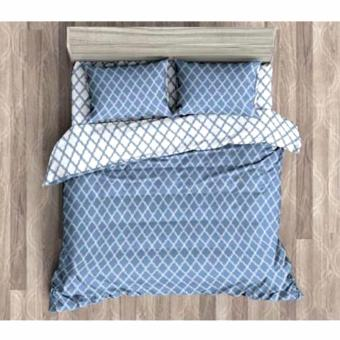 MODERN SPACE High Quality Fitted Bedsheet Single Size With FREE Two Pillow Cases Trellis Pattern Blue Printed Design