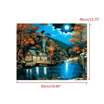 Moon Night Landscape House Acrylic Oil Painting By Number Kits DIY Craft 20X16'' - intl - 4