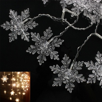 Moonar 3.5M 96LED Christmas Snowflake Ice Curtain String Fairy Lights Xmas Party Wedding Decor 220V - intl