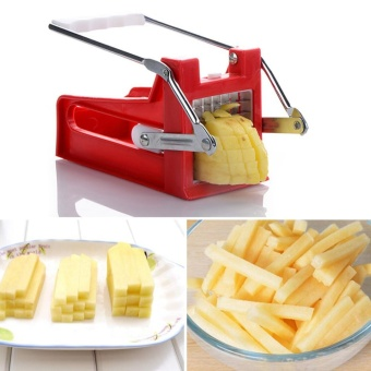 Moonar Stainless Potato Chipper French Fries Slicer Chip Cutter Maker Chopper 2 Blades - intl
