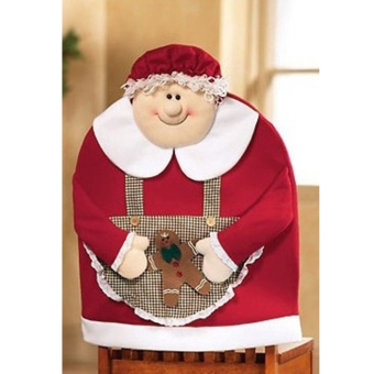 Mrs Santa Claus Christmas Kitchen Dining Table Chair Back Cover Decor - picture 2
