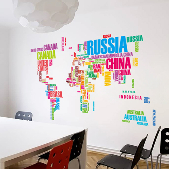 Multi-color English Lettered world map wall stickers