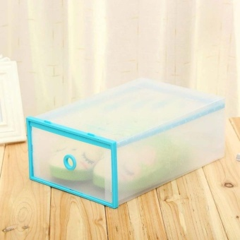 Multi-use Foldable Plastic Transparent Drawer Case Shoe StorageOrganizer Stackable Box Set of 3 (Blue) - 2