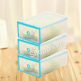 Multi-use Foldable Plastic Transparent Drawer Case Shoe StorageOrganizer Stackable Box Set of 3 (Blue)