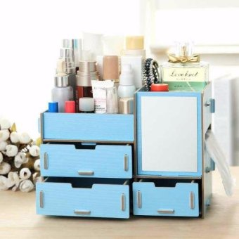 Multifunction Wooden Drawer Style Makeup Cosmetics Jewelry StorageBox Case Rack Organizer (Blue)