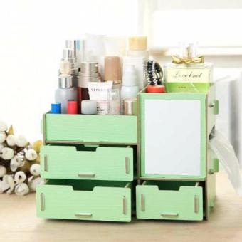 Multifunction Wooden Drawer Style Makeup Cosmetics Jewelry StorageBox Case Rack Organizer (Green)