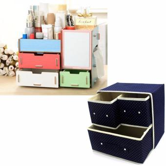 Multifunction Wooden Drawer Style Makeup Cosmetics Jewelry StorageBox Case Rack Organizer (Multicolor) with Foldable Woven ClothingStorage Box (Dotted Dark Blue)