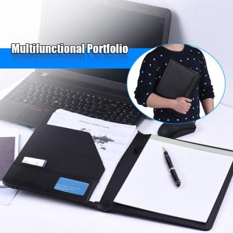 Multifunctional Business Portfolio Padfolio Folder Document Case Organizer A4 PU Leather with Business Card Holder Memo Note Pad Black - intl