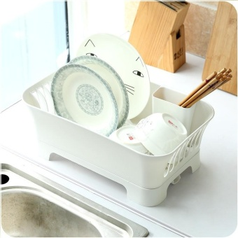 Multifunctional Kitchen Dish Bowl Drain Rack Spoon Rack Shelf BowlRack Cabinet Dish Rack - intl