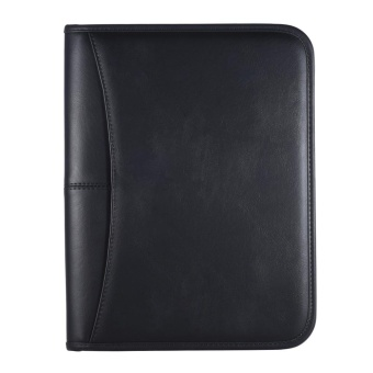 Multifunctional Professional Business Portfolio Padfolio Folder Document Case Organizer A4 PU Leather Zippered Closure with Business Card Holder Memo Note Pad - intl