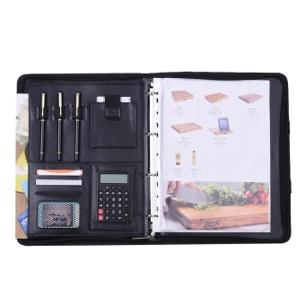 Multifunctional PU A4 File Zipper Manager Brief Case DocumentFolder Organizer Business Office Portfolio Data Pocket Holder with8 Digit Calculator Magnetic Handle - intl - 4
