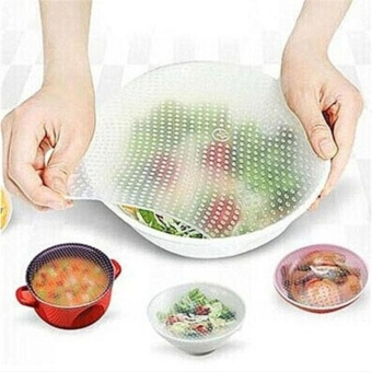 Multifunctional Silicone Food Wrap Clear Reusable Silicone WrapsSeal Cover Stretch Fresh Keeping Kitchen Tools Cooking (4 Pcs) -intl