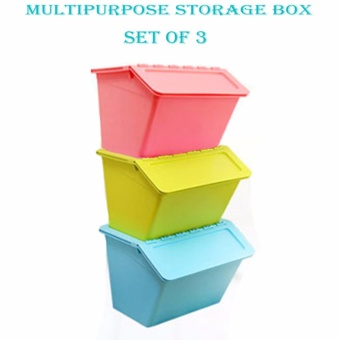 Multipurpose Durable Storage Box Set Of 3 (Pink,Blue and Green)