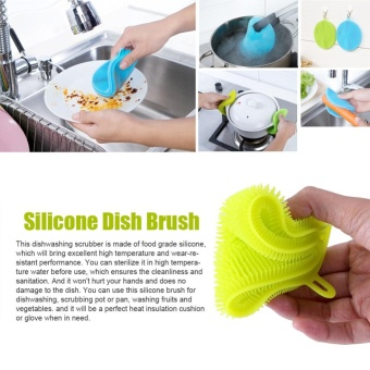 Multiuse Silicone Bowl Cleaning Brush Dish Scrubber Fruit/VegetableKitchen Wash Tool (Green) - intl