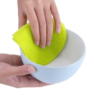 Multiuse Silicone Soft Bowl Dish Kitchen Cleaning Tool Brush Green- intl - 4