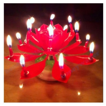 Musical Lotus Flower Rotating Birthday Candle Light (Red) with freeHeadset w/ mic