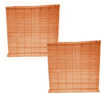 Native Bamboo Window Blinds 5ft. Wide x 5ft. Long (Brown) Set of 2
