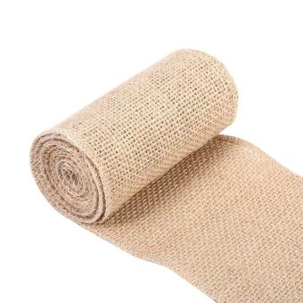 Nature Hessian Jute Burlap Ribbon Rustic Table Runner Crafts Chair Home Wedding Party 10x200cm - intl