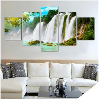 Nature scenery waterfall trees canvas painting rectangle HD largeimage painting deco for restaurant Giveaway wall sticker (No Frame) Price Philippines
