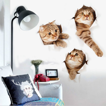 Naughty 3D bedroom children's room cat Decorative Sticker wall stickers