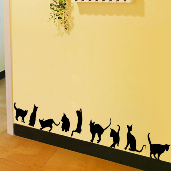 Naughty cat bedroom living room background wall stickers cat