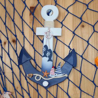 Nautical Anchor Wall Hanging Hook Ship Starfish Decor Coat Hat Door Rack - 5