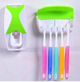 New 2017 Automatic Dustproof Toothpaste Dispenser with ToothbrushHolder Organizer Set
