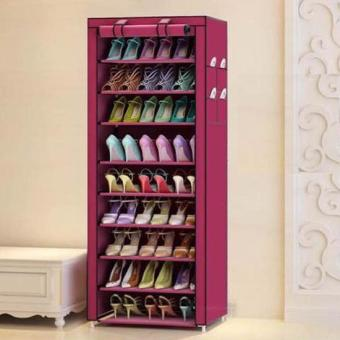 New 2017 Color Shoe Cabinet Shoe Rack Organizer (Red)