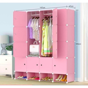 New 2017 Plastic Cabinet 16 Cubes Doors DIY Storage Cabinet withBottom Shoe Rack (Pink)