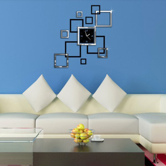 New 3D Home Decoration Wall Stickers DIY Mirror Wall Clock Double Color