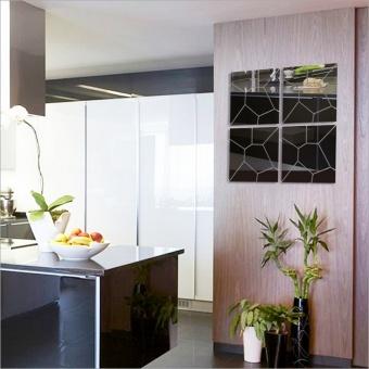 New 3D Mirror Wall Mirror Wall Geometry Trade Acrylic Decoration Room Mid - intl - 3