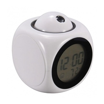 New Alarm Clock Digital LCD Display Voice Talking LED Projection Temperature Decor - intl