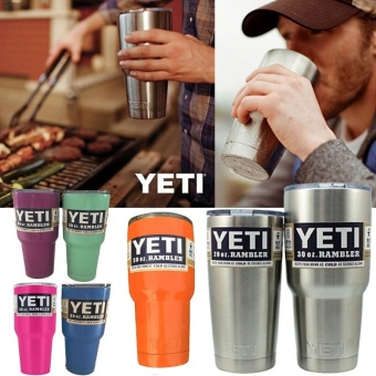 New Bilayer Stainless Steel Vacuum Insulated Bottle YETI Mug Cups30.oz (Silver)