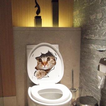 New Cat Toilet Seat Wall Sticker Art Removable Bathroom DecalsDecor - intl - 2