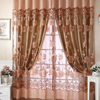 New Floral Tulle Voile Door Window Curtain Coffee